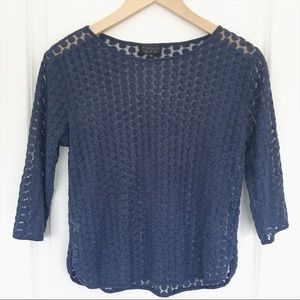 Topshop Embroidered Navy Long Sleeve